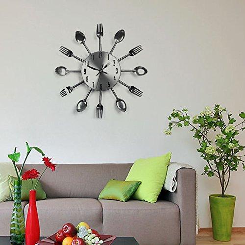 SOLEDI-Kreative-Designer-Wanduhr-mit-Kuchen-Lffel-Gabel-Besteck-ca-32-cm-Silber-ohne-Batterie-0-1