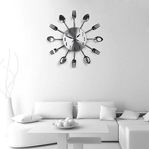 SOLEDI-Kreative-Designer-Wanduhr-mit-Kuchen-Lffel-Gabel-Besteck-ca-32-cm-Silber-ohne-Batterie-0-3