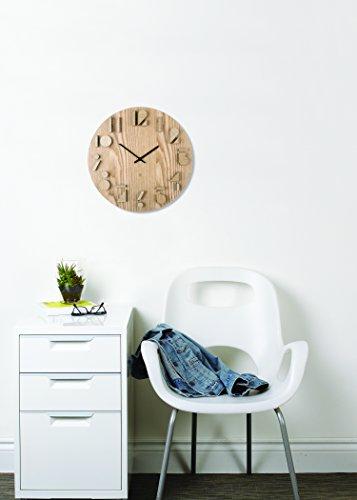 Wanduhr Aus Paulownia Holz Abstrakte Zahlen Ziffern Im Schatteneffekt Ohne Ticken