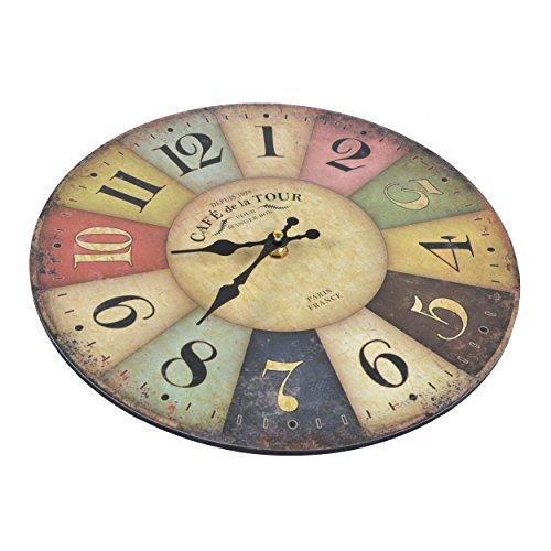 Wanduhr-Cafe-Tour-Holz-Kchenuhr-mit-groem-Ziffernblatt-aus-MDF-Retro-Uhr-im-angesagtem-Shabby-Chic-Design-mit-leisem-Quarz-Uhrwerk--32-cm-0-0