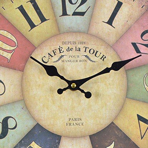 Wanduhr-Cafe-Tour-Holz-Kchenuhr-mit-groem-Ziffernblatt-aus-MDF-Retro-Uhr-im-angesagtem-Shabby-Chic-Design-mit-leisem-Quarz-Uhrwerk--32-cm-0-1