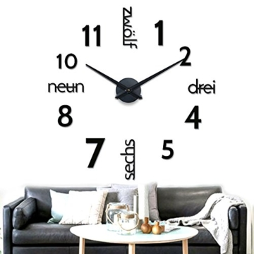 xxl 3d schwarze designer wanduhr von onetime wanduhren shop24. Black Bedroom Furniture Sets. Home Design Ideas