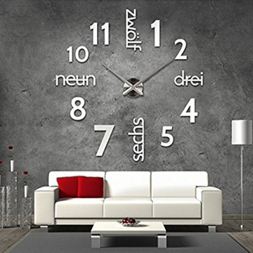 xxl 3d silberne designer wanduhr von onetime wanduhren. Black Bedroom Furniture Sets. Home Design Ideas