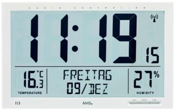 AMS Digital Funkwanduhr weiss 5887 -