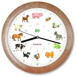 kookoo-kidsworld-holz-wanduhr-mit-tiergeraeuschen-tieruhr-bauernhofuhr-mit-12-tieren-vom-land-mit-lichtsensor-1